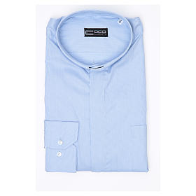 Clergy shirt long sleeves Prestige Line mixed cotton Light Blue s3