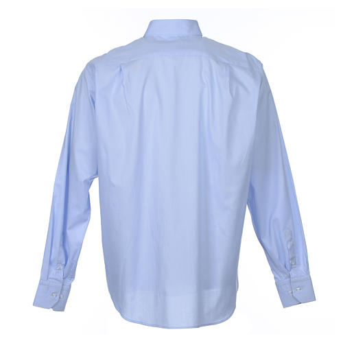 Clergy shirt long sleeves Prestige Line mixed cotton Light Blue 2