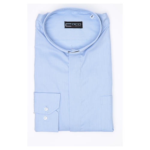 Clergy shirt long sleeves Prestige Line mixed cotton Light Blue 3