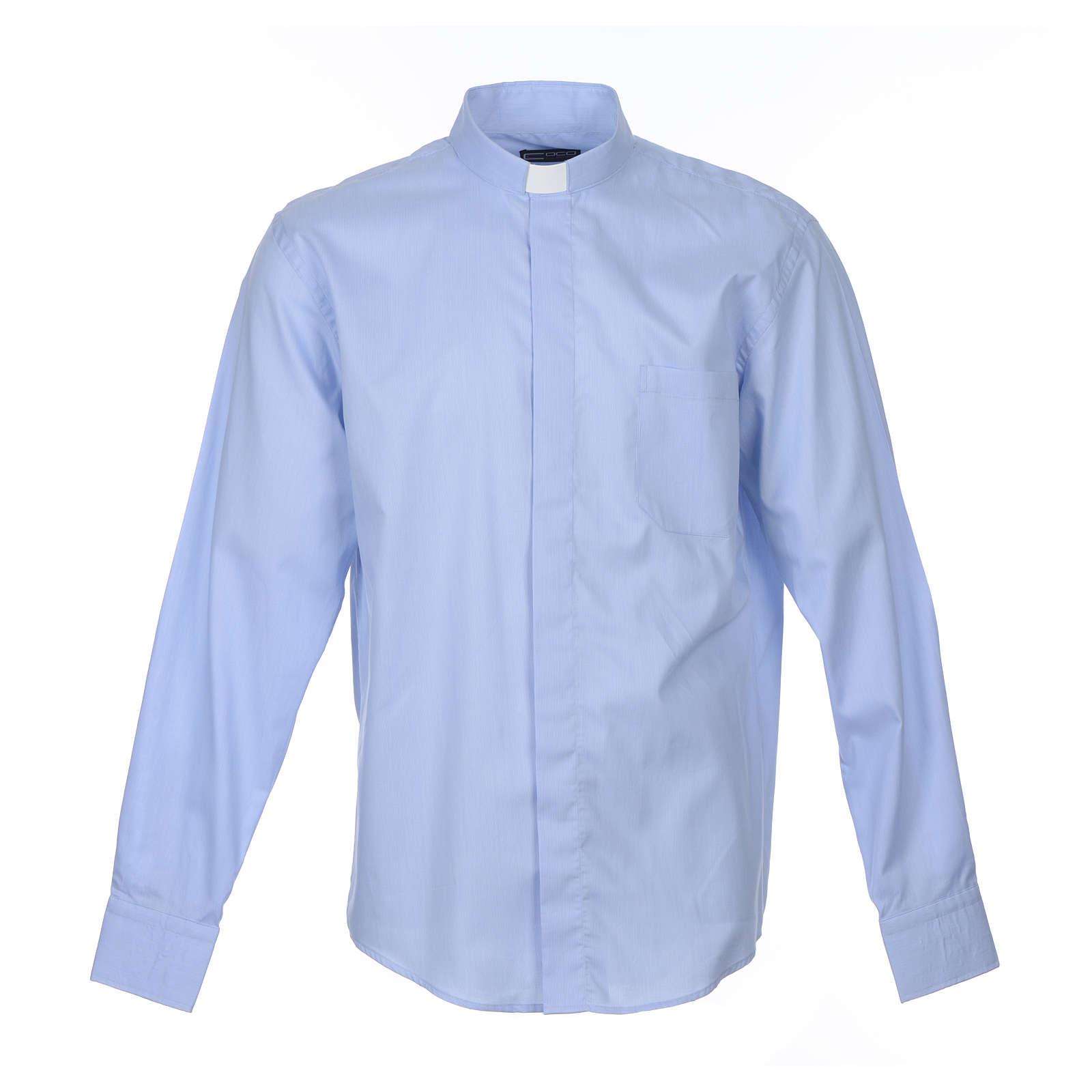 Camisa sacerdote M/L linha Prestige algodão misto azul 4