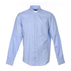 Camisa sacerdote M/L linha Prestige algodão misto azul s1