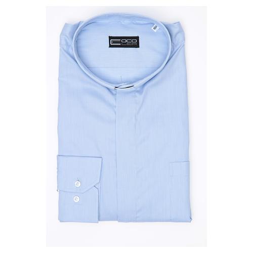 Camisa sacerdote M/L linha Prestige algodão misto azul 3