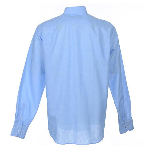 Clergyman shirt, long sleeves in light blue linen 2