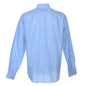 Koszula kapłańska długi rękaw lniana błękitna s2