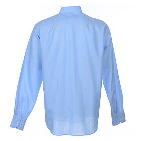 Clergyman shirt, long sleeves in light blue linen s2
