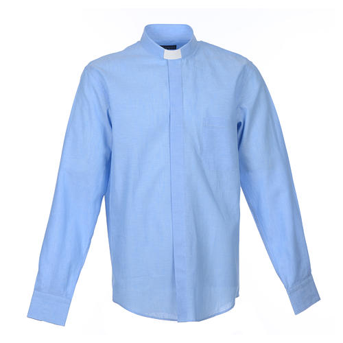 Clergyman shirt, long sleeves in light blue linen 1