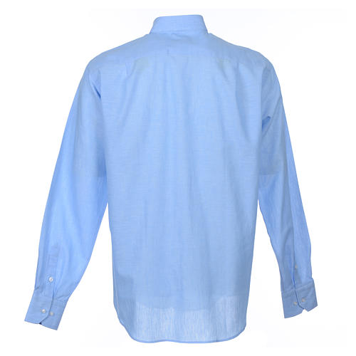 Clergyman shirt, long sleeves in light blue linen 2