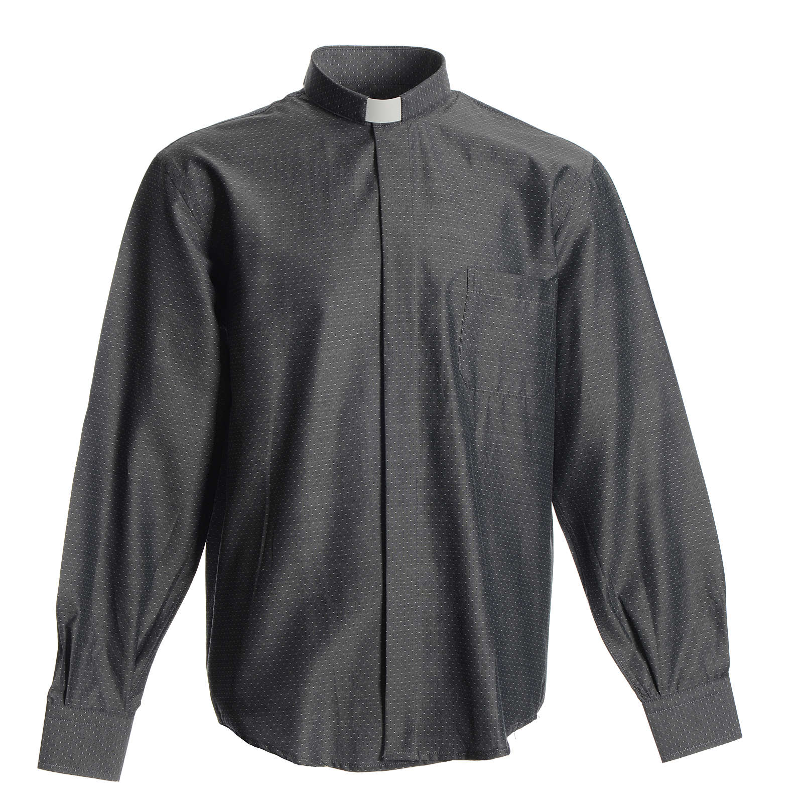Clergyman shirt in grey polyester cotton 4