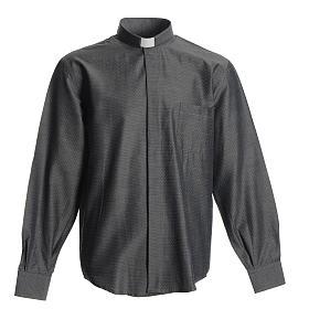 Camisas de Sacerdote: Camisa sacerdote algodão poliéster cinzenta