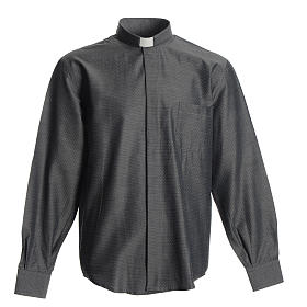 Priest Long Sleeve Shirt in grey polyester cotton s1