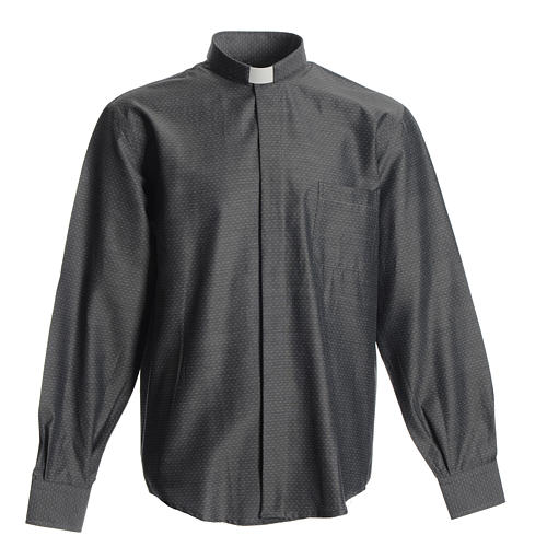 Clergyman shirt in grey polyester cotton 1