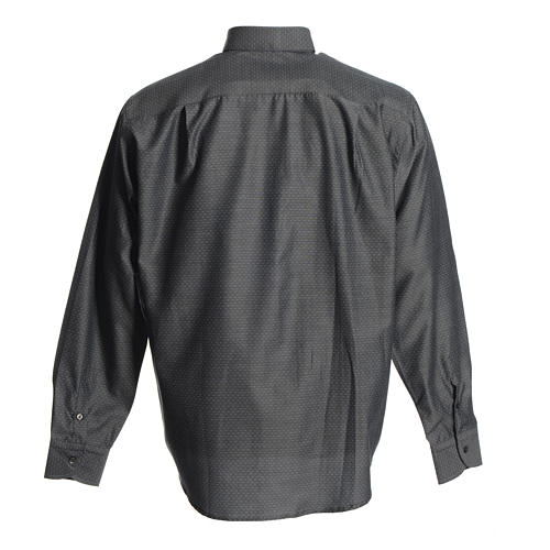 Clergyman shirt in grey polyester cotton 2