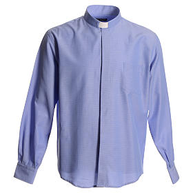 Clerical shirt in sky blue polyester cotton s1