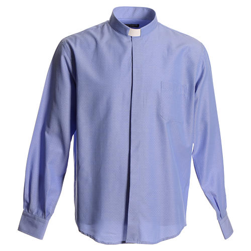 Clerical shirt in sky blue polyester cotton 1