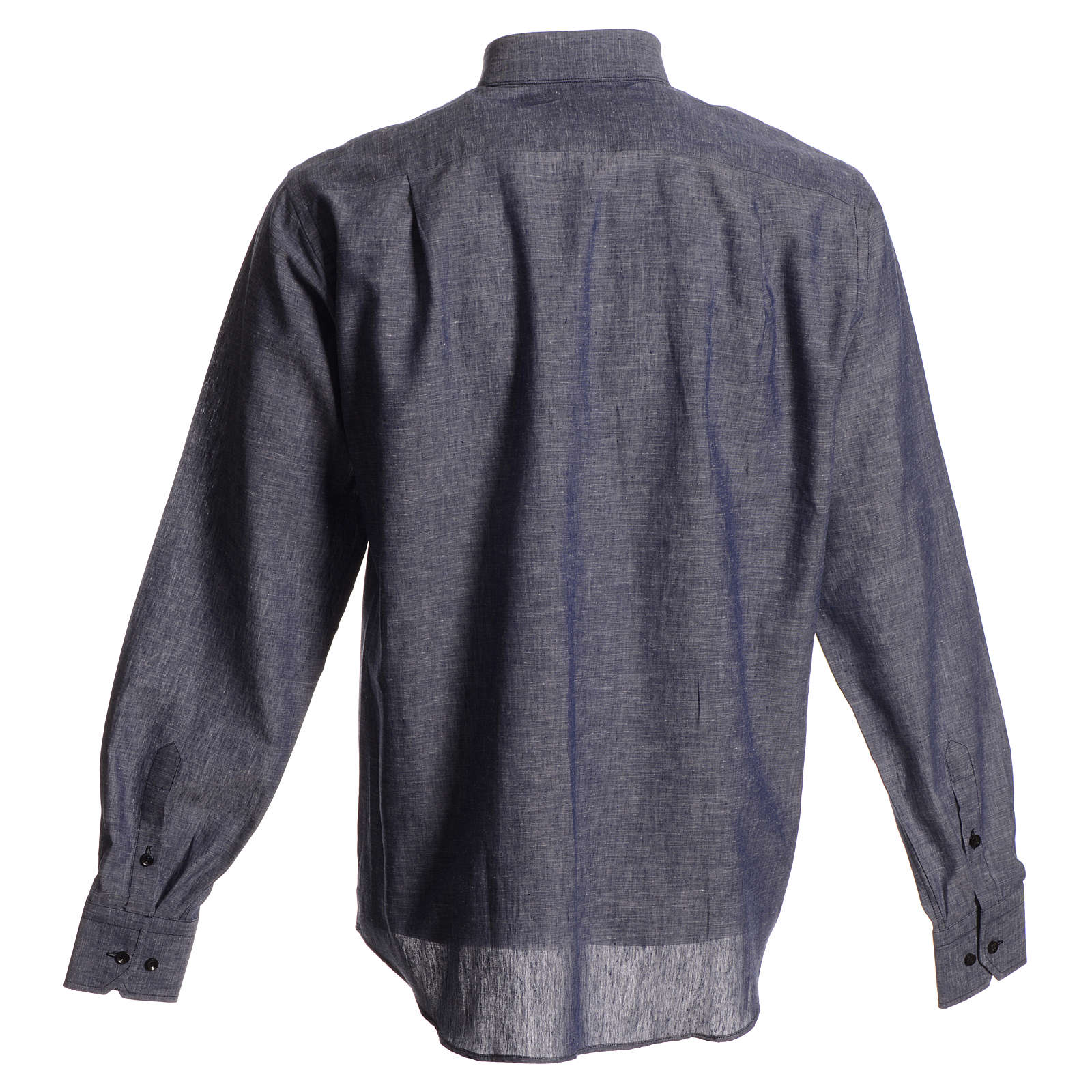 Clerical shirt in blue linen and cotton, long-sleeve 4