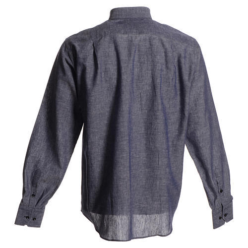 Clerical shirt in blue linen and cotton, long-sleeve 2