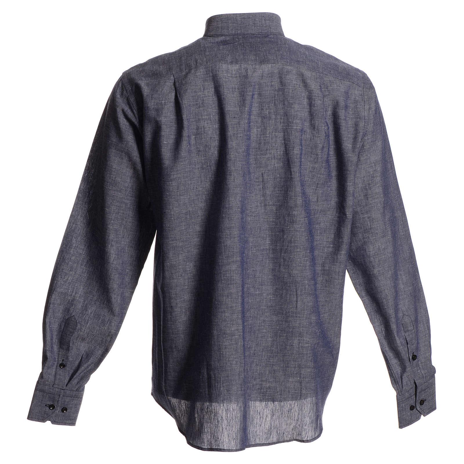 Camicia clergy lino cotone blu 4