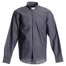 Camicia clergy lino cotone blu s1