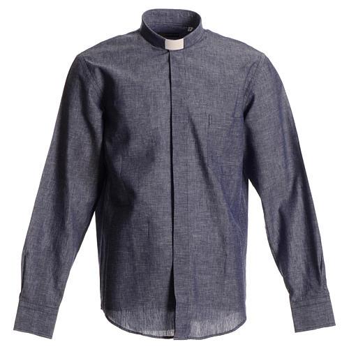Camicia clergy lino cotone blu 1