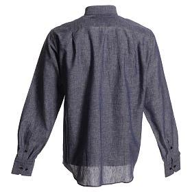 Camisa para sacerdote linho algodão azul escuro s2