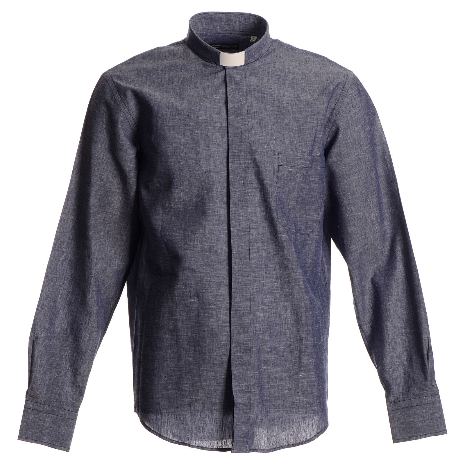 Long-sleeve clergy shirt, blue linen and cotton 4