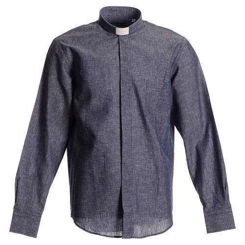 Long-sleeve clergy shirt, blue linen and cotton 1