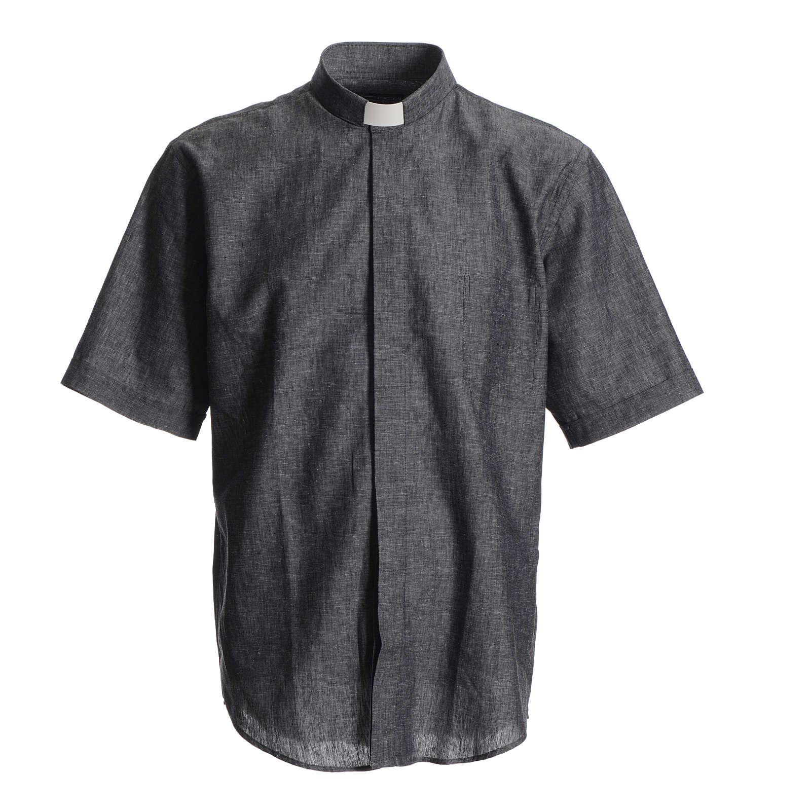 Camisa clergy lino sacerdote algodón gris 4