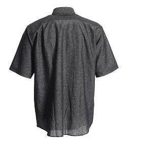 Camisa clergy lino sacerdote algodón gris s2
