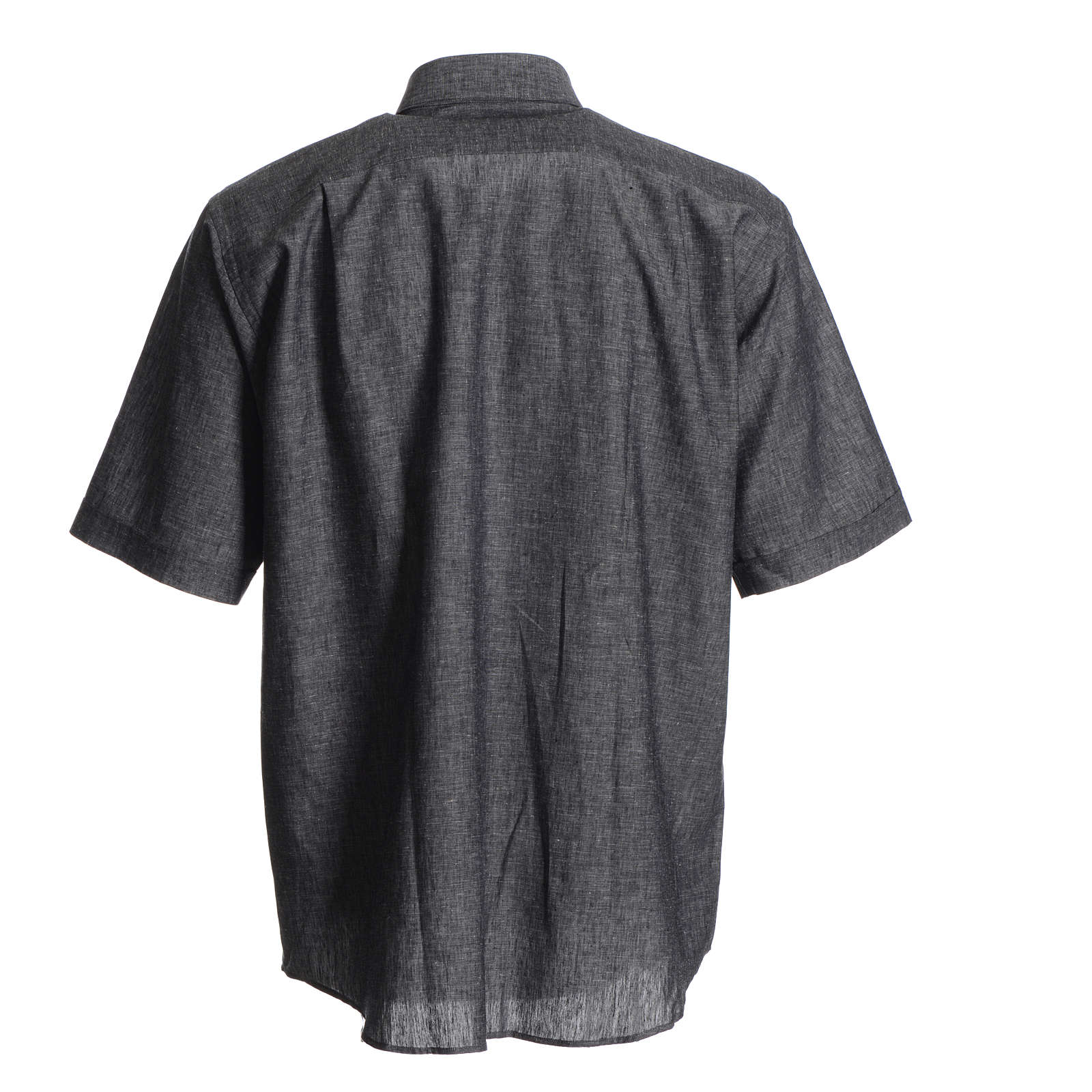 Camicia clergy lino cotone grigio 4