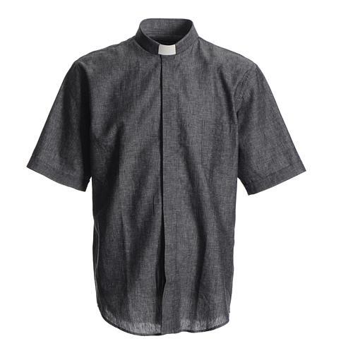 Camicia clergy lino cotone grigio 1