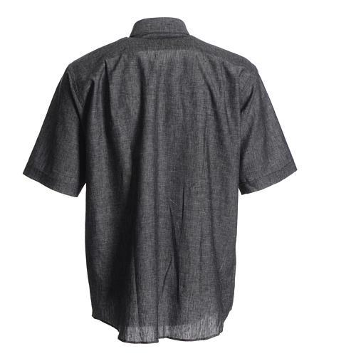 Camicia clergy lino cotone grigio 2