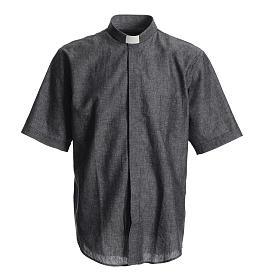 Camisas de Sacerdote: Camisa para sacerdote linho algodão cinzenta