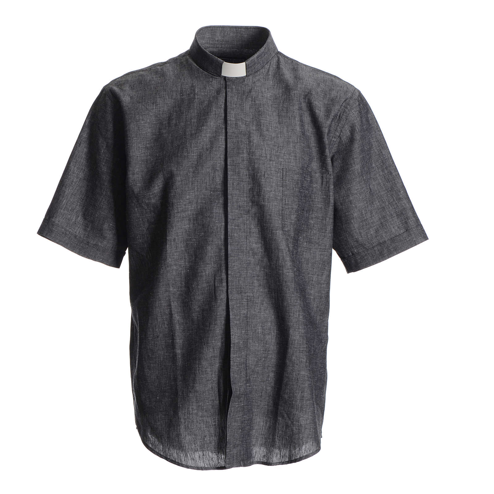 Short sleeve clergy shirt, grey linen and cotton 4