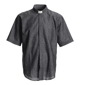 Short sleeve clergy shirt, grey linen and cotton s1
