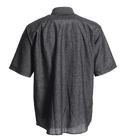 Short sleeve clergy shirt, grey linen and cotton s2