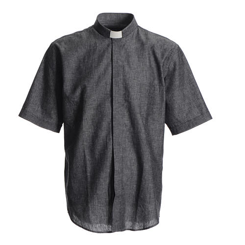 Short sleeve clergy shirt, grey linen and cotton 1