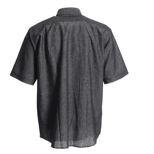 Short sleeve clergy shirt, grey linen and cotton 2