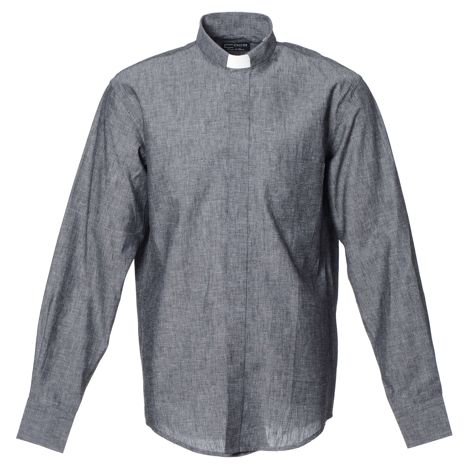 Clergy shirt with long sleeves in grey linen and cotton 4