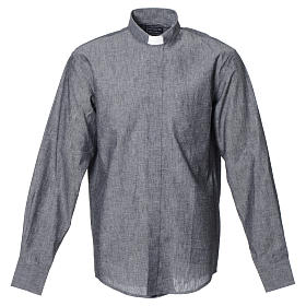Clergy shirt with long sleeves in grey linen and cotton s1