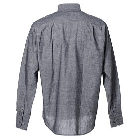Clergy shirt with long sleeves in grey linen and cotton s2