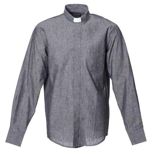 Clergy shirt with long sleeves in grey linen and cotton 1