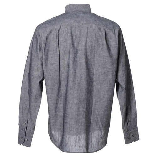 Clergy shirt with long sleeves in grey linen and cotton 2