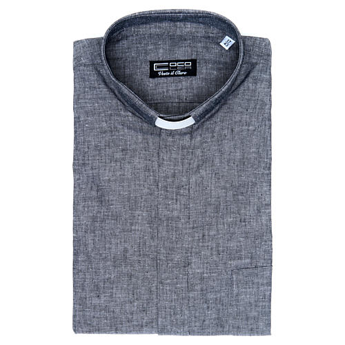 Clergy shirt with long sleeves in grey linen and cotton 5