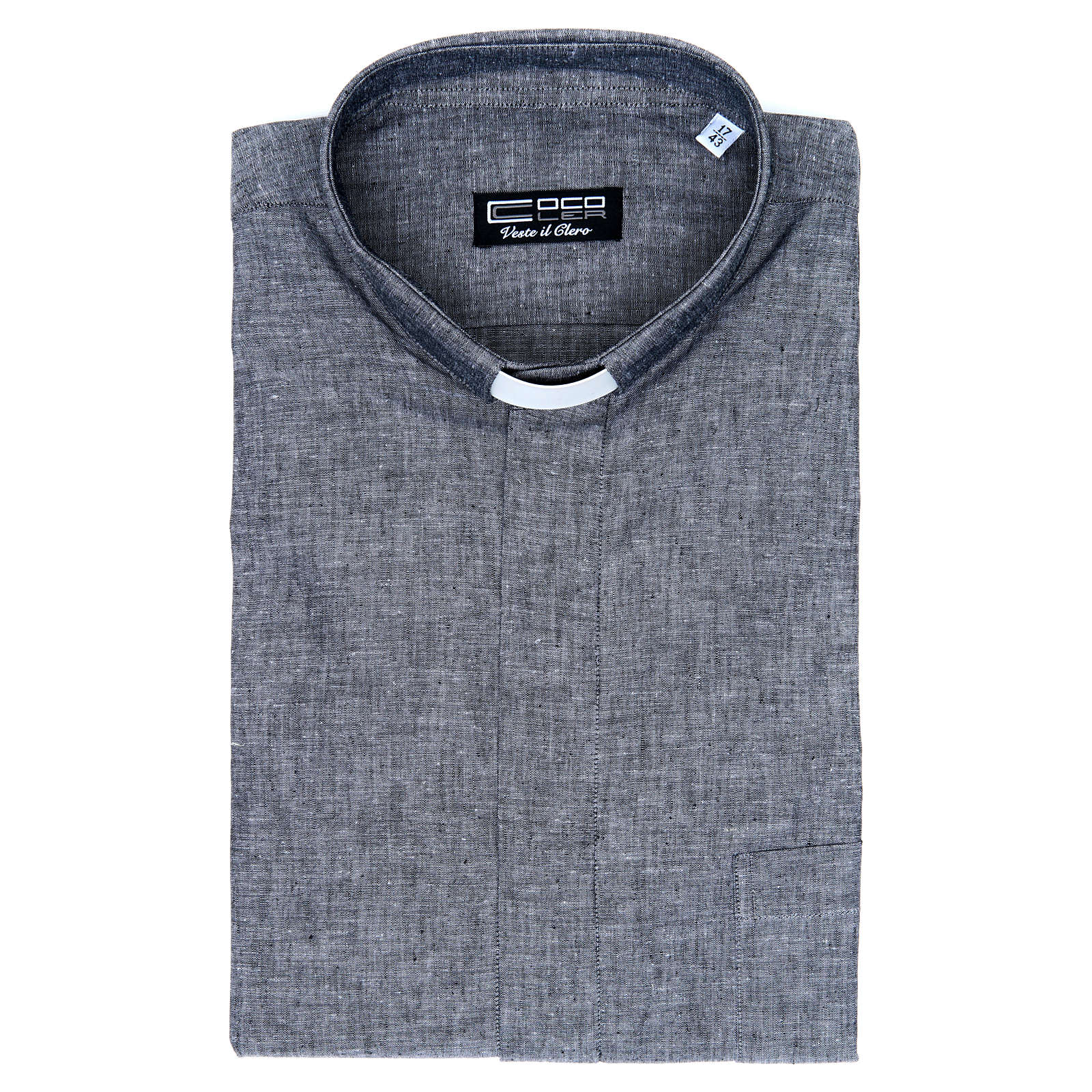 Camisa clergy sacerdotal lino algodón gris manga larga 4