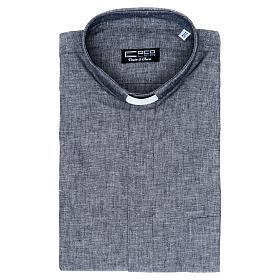 Camisa clergy sacerdotal lino algodón gris manga larga s5