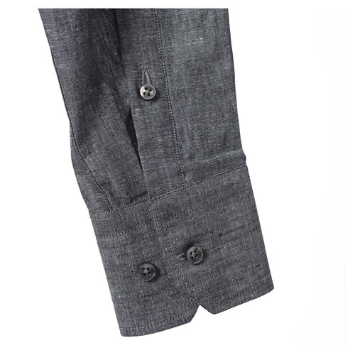 Camisa clergy sacerdotal lino algodón gris manga larga 3