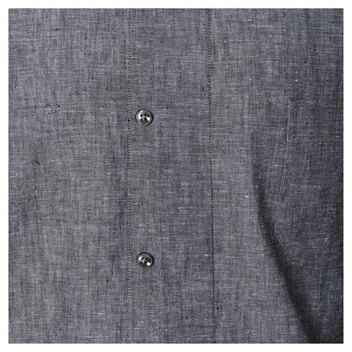 Chemise clergy lin coton gris manches longues 4
