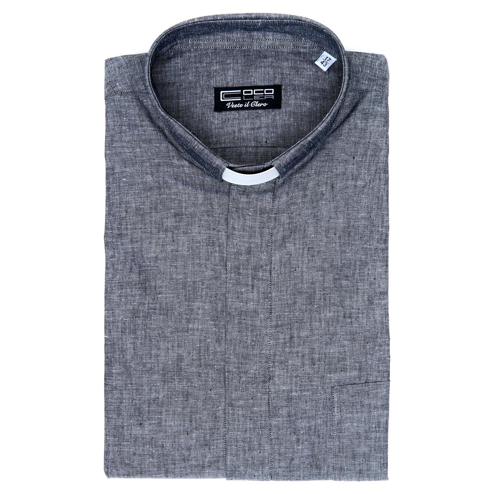 Camicia clergy lino cotone grigio manica lunga 4