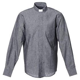 Camicia clergy lino cotone grigio manica lunga s1