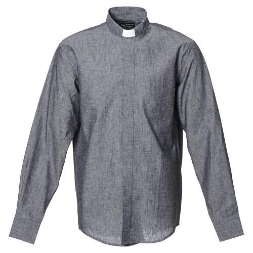 Camicia clergy lino cotone grigio manica lunga 1